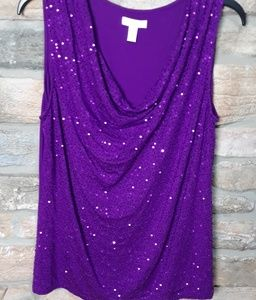 Charter Club Sequin sleeveles Blouse